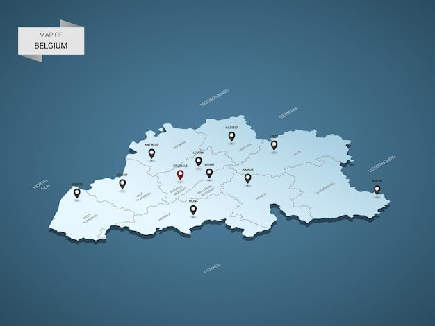 Mapa isométrico 3d da bélgica