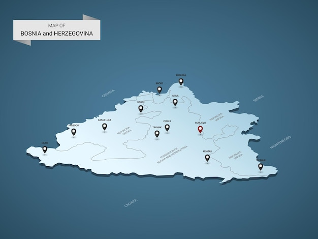 Mapa isométrico 3d da bósnia e herzegovina