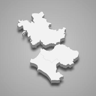 Mapa isométrico 3d da grécia ocidental é uma região da grécia