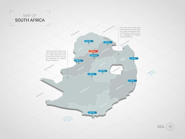 Mapa isométrico 3d da república da áfrica do sul.