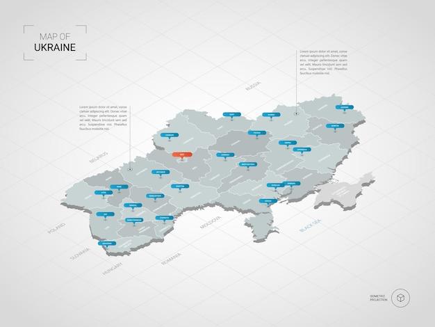 Mapa isométrico 3d da ucrânia.