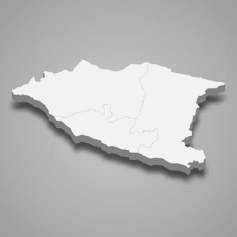 Mapa isométrico 3d de malaca é um estado da malásia