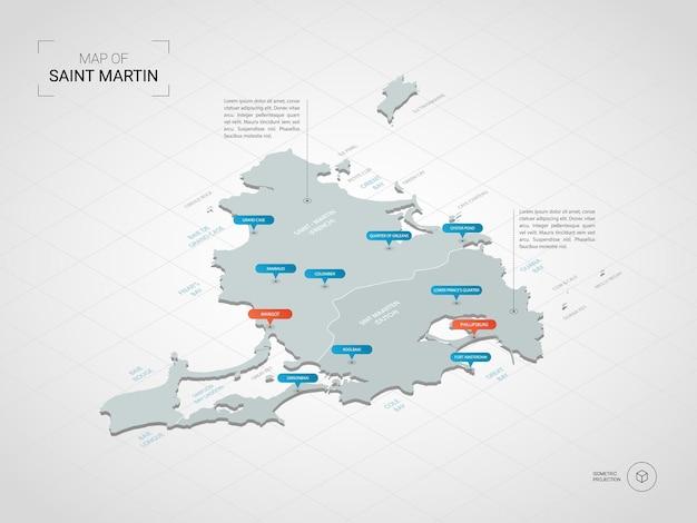 Mapa isométrico 3d de saint martin.