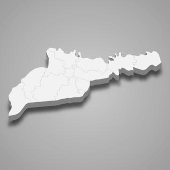 Mapa isométrico 3d do oblast de chernivtsi é uma região da ucrânia