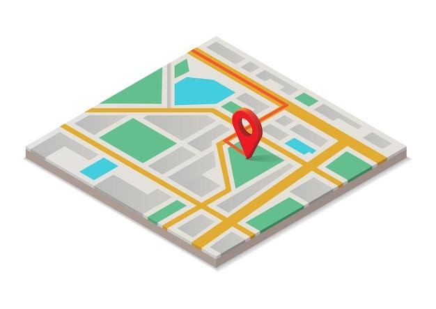 Mapa isométrico com ponteiro vermelho