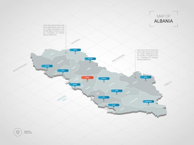 Mapa isométrico da albânia.