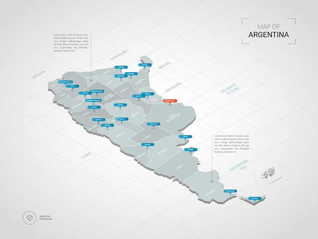 Mapa isométrico da argentina.