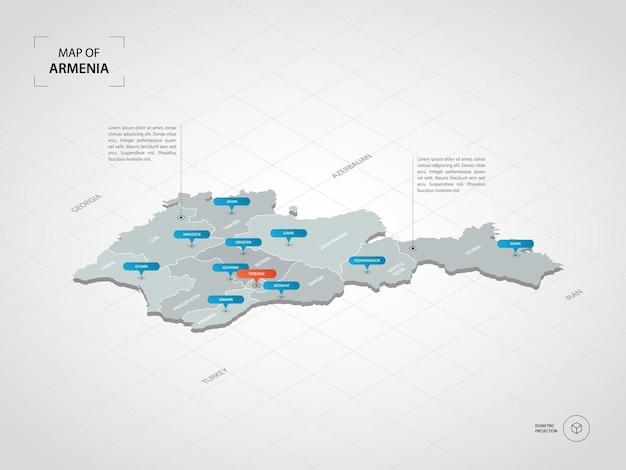Mapa isométrico da armênia.