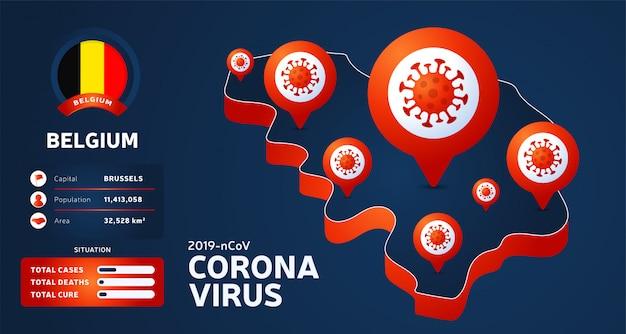 Mapa isométrico da bélgica com ilustração destacada do país em fundo escuro. estatísticas de coronavírus. vírus chinês perigoso da corona do ncov. informação infográfico e país.