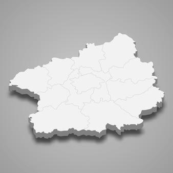 Mapa isométrico da boêmia central é uma região da república tcheca