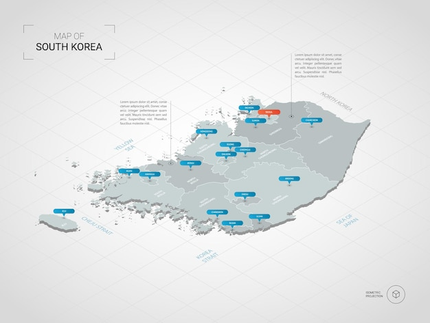 Mapa isométrico da coreia do sul. ilustração de mapa estilizado com cidades, fronteiras, capitais, divisões administrativas e marcas indicadoras; fundo gradiente com grade.