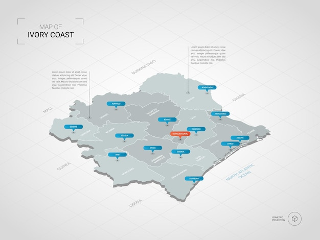Mapa isométrico da costa do marfim. ilustração de mapa estilizado com cidades, fronteiras, capitais, divisões administrativas e marcas indicadoras; fundo gradiente com grade.