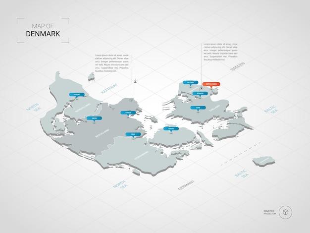 Mapa isométrico da dinamarca. ilustração de mapa estilizado com cidades, fronteiras, capitais, divisões administrativas e marcas indicadoras; fundo gradiente com grade.