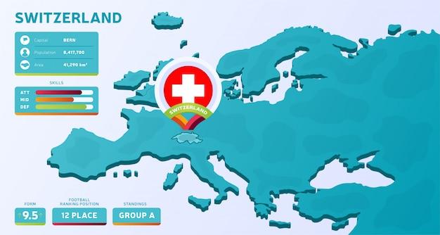 Mapa isométrico da europa com o país destacado suíça
