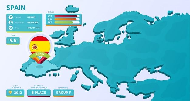 Mapa isométrico da europa com país destacado espanha
