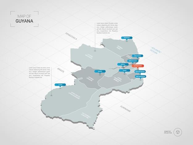 Mapa isométrico da guiana. ilustração de mapa estilizado com cidades, fronteiras, capitais, divisões administrativas e marcas indicadoras; fundo gradiente com grade.