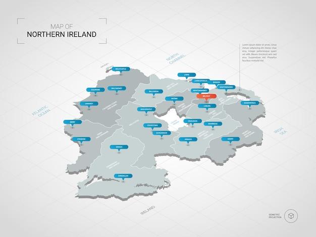 Mapa isométrico da irlanda do norte. ilustração de mapa estilizado com cidades, fronteiras, capitais, divisões administrativas e marcas indicadoras; fundo gradiente com grade.