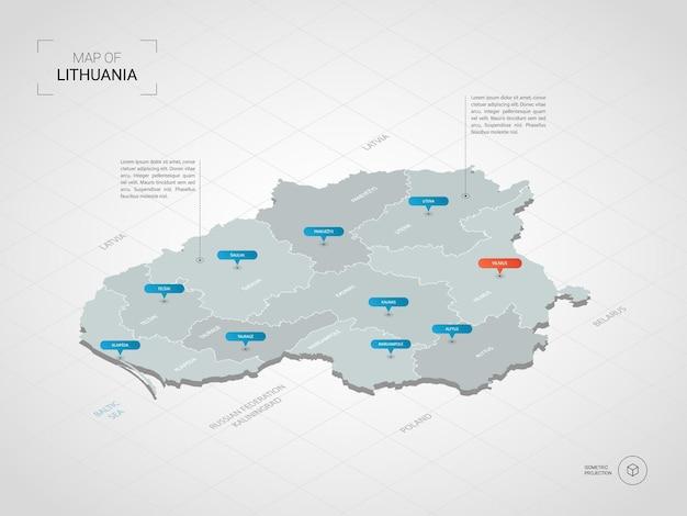 Mapa isométrico da lituânia. ilustração de mapa estilizado com cidades, fronteiras, capitais, divisões administrativas e marcas indicadoras; fundo gradiente com grade.