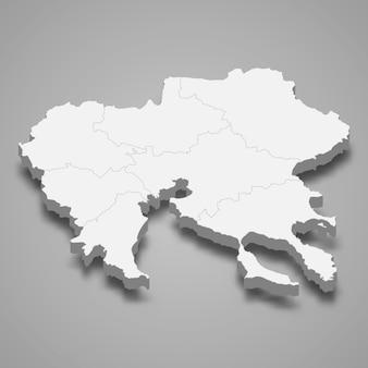 Mapa isométrico da macedônia central é uma região da grécia