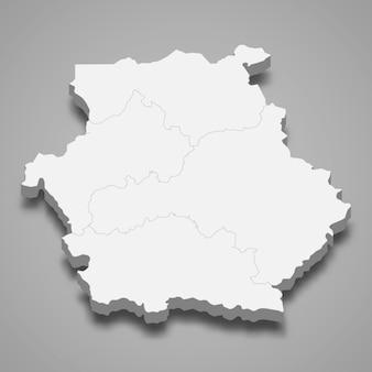 Mapa isométrico da macedônia ocidental é uma região da grécia