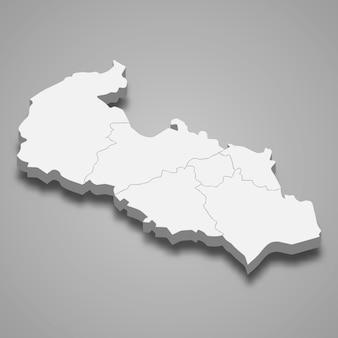 Mapa isométrico da morávia-silésia é uma região da república tcheca