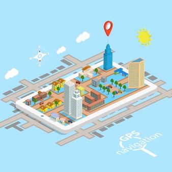 Mapa isométrico da navegação móvel de gps