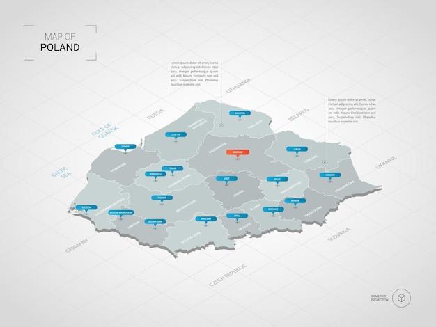 Mapa isométrico da polônia 3d. Vetor Premium