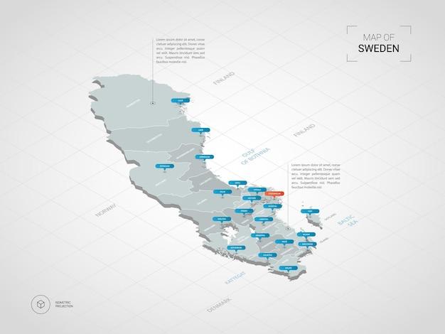 Mapa isométrico da suécia 3d.