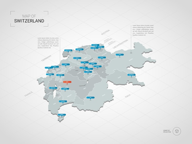 Mapa isométrico da suíça 3d. Vetor Premium