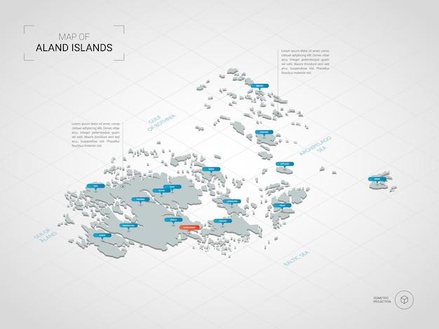Mapa isométrico das ilhas aland.