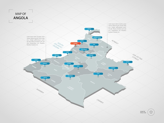 Mapa isométrico de angola.