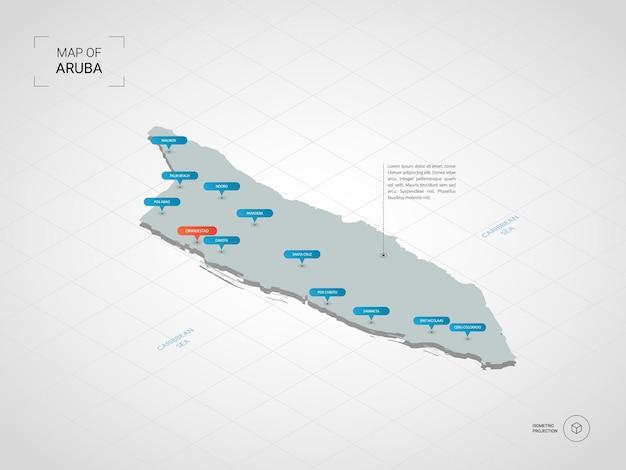 Mapa isométrico de aruba.