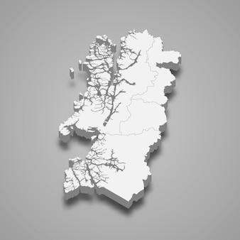Mapa isométrico de aysen é uma região do chile
