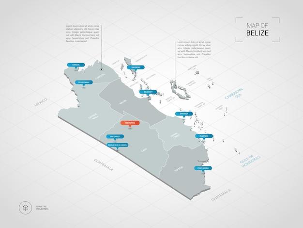 Mapa isométrico de belize. ilustração de mapa estilizado com cidades, fronteiras, capitais, divisões administrativas e marcas indicadoras; fundo gradiente com grade.