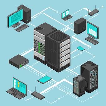 Mapa isométrico de gerenciamento de rede de dados com servidores de rede de negócios