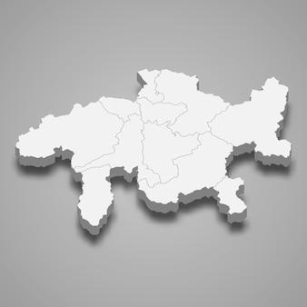 Mapa isométrico de grisões é um cantão da suíça