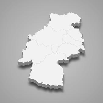 Mapa isométrico de huancavelica isolado em cinza