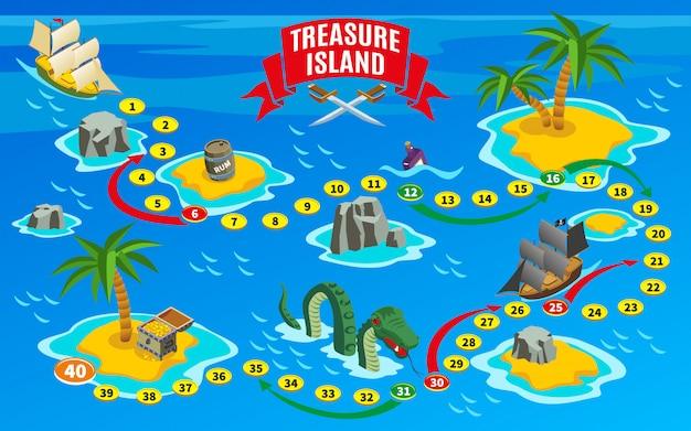 Mapa isométrico de jogo de tabuleiro de piratas
