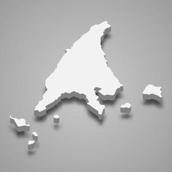 Mapa isométrico de labuan é um estado da malásia
