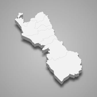 Mapa isométrico de lima é uma região do peru