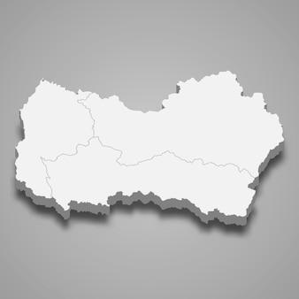 Mapa isométrico de o'higgins é uma região do chile