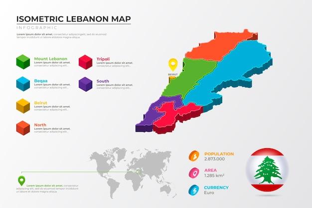 Mapa isométrico detalhado do líbano