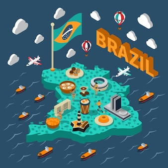 Mapa isométrico do brasil