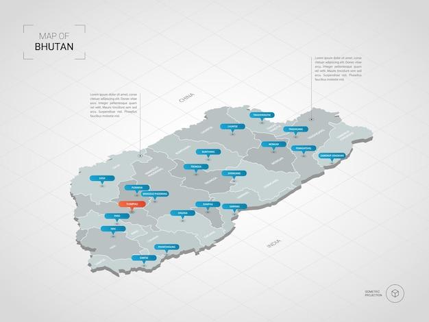 Mapa isométrico do butão. ilustração de mapa estilizado com cidades, fronteiras, capitais, divisões administrativas e marcas indicadoras; fundo gradiente com grade.