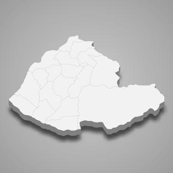 Mapa isométrico do condado de miaoli é uma região de taiwan