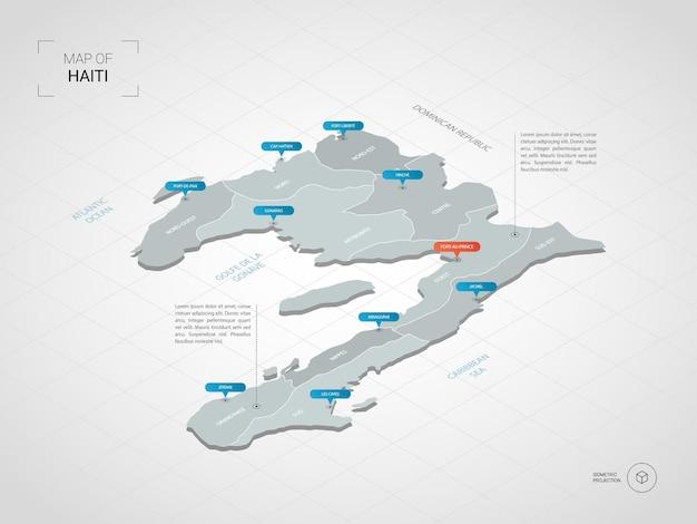 Mapa isométrico do haiti. ilustração de mapa estilizado com cidades, fronteiras, capitais, divisões administrativas e marcas indicadoras; fundo gradiente com grade.