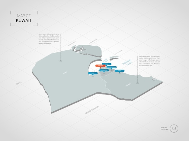 Mapa isométrico do kuwait. ilustração de mapa estilizado com cidades, fronteiras, capitais, divisões administrativas e marcas indicadoras; fundo gradiente com grade.