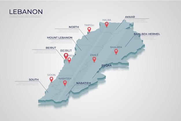 Mapa isométrico do líbano dividido