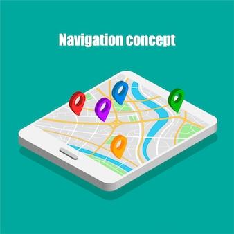 Mapa isométrico do mundo viajar com identificar em um tablet eletrônico. localização em um mapa global.