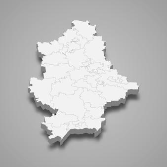 Mapa isométrico do oblast de donetsk é uma região da ucrânia